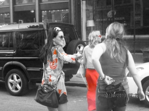 girls walking across the street